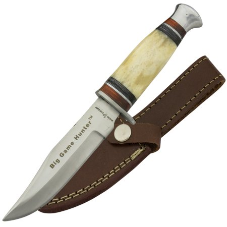 "Red Deer ""Big Game Hunter"" Fixed Blade Hunting Knife with Animal Bone Handle"