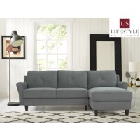 Lifestyle Solutions Taryn 3 Seat Sectional Sofa Upholstered Microfiber Fabric Rolled Arms