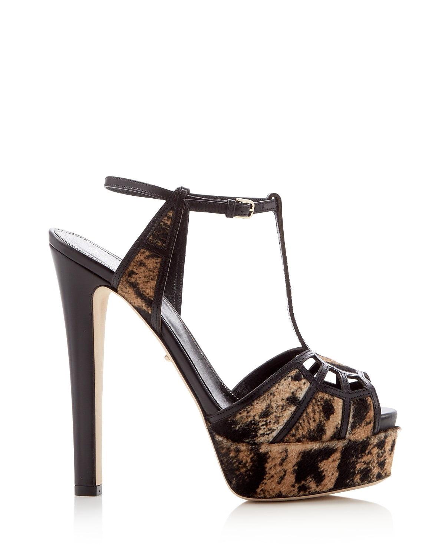 Sergio Rossi Puzzle Calf Hair T-Strap High Heel Platform Sandals