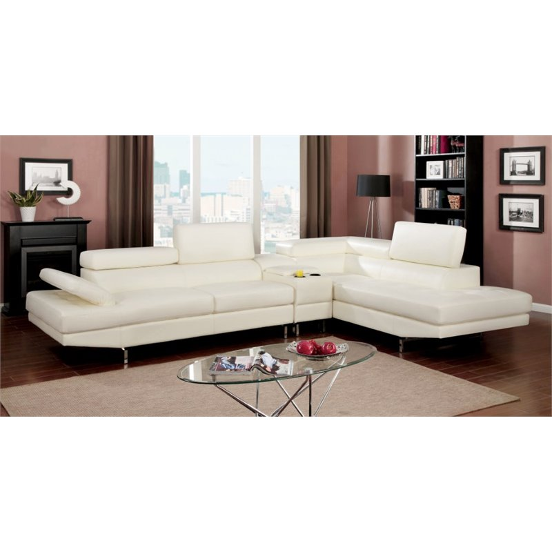 Furniture of America Briana Contemporary Leather Sectional in White