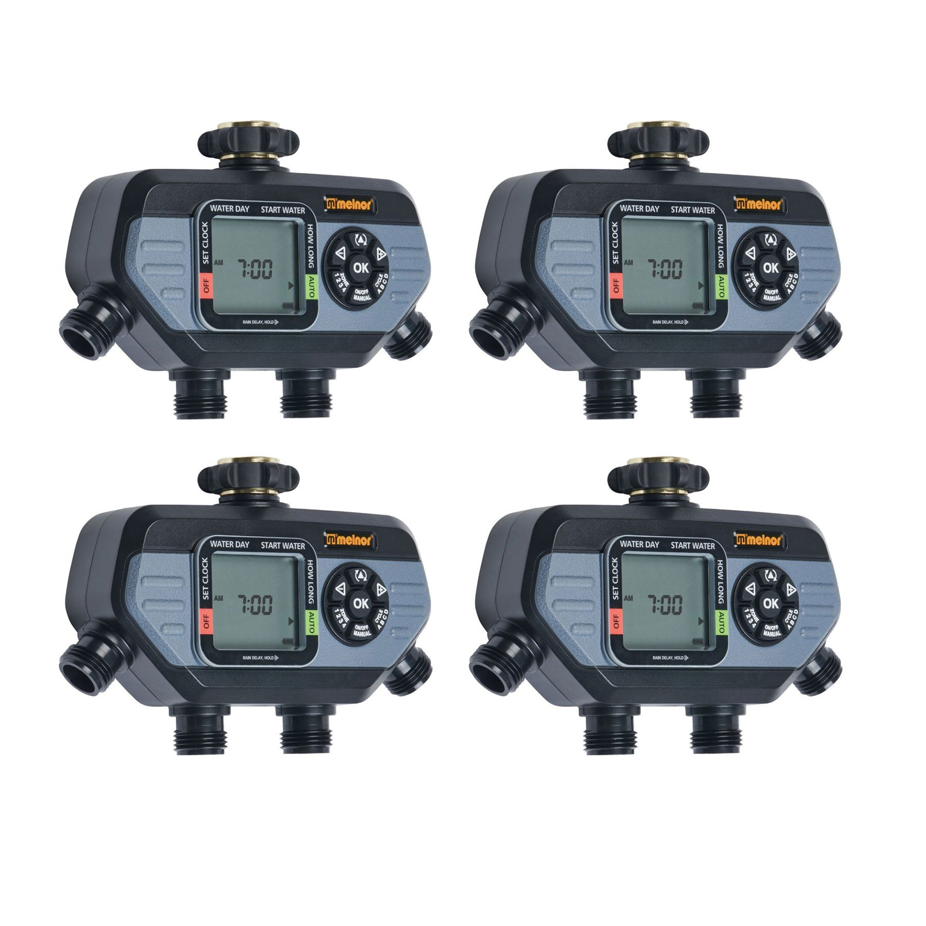 Melnor HydroLogic 4 Zone Digital Water Timer for Garden and Yard Care (4 Pack) by Melnor