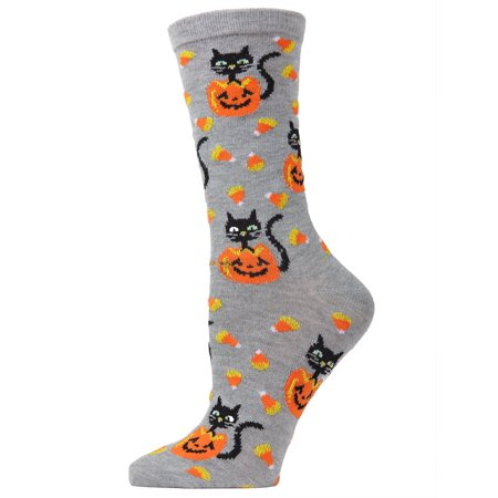 MeMoi Candy Corn Cat Crew Socks | Fun Halloween Novelty Socks One Size 9-11 / Medium Gray Heather MF7 940 - Halloween Socks