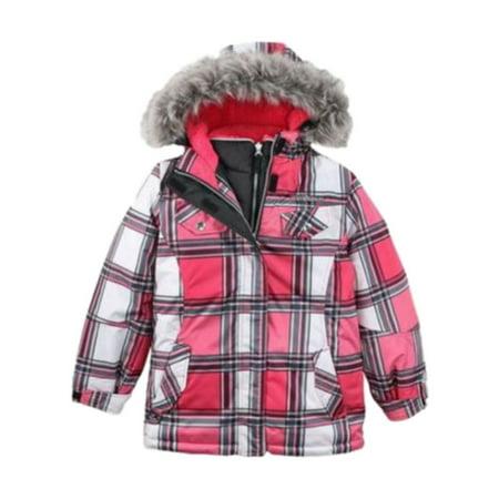Zero Xposur Zero Xposur Girls Pink Plaid 3 In 1 Fur Coat