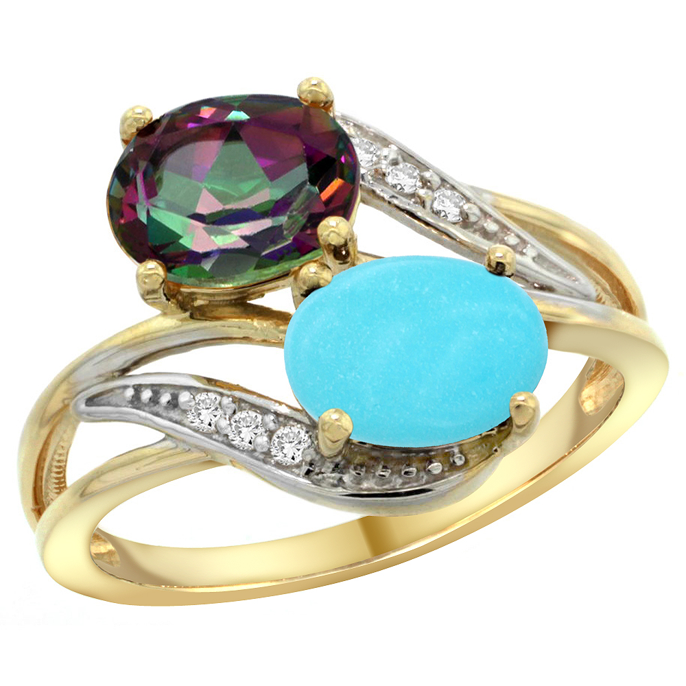10K Yellow Gold Diamond Natural Mystic Topaz & Turquoise 2-stone Ring Oval 8x6mm, sizes 5 10 by WorldJewels