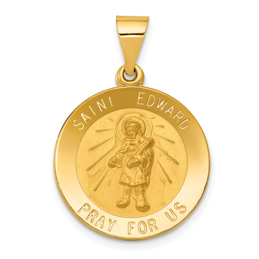 14k Yellow Gold Polished and Satin St. Edward Medal Pendant