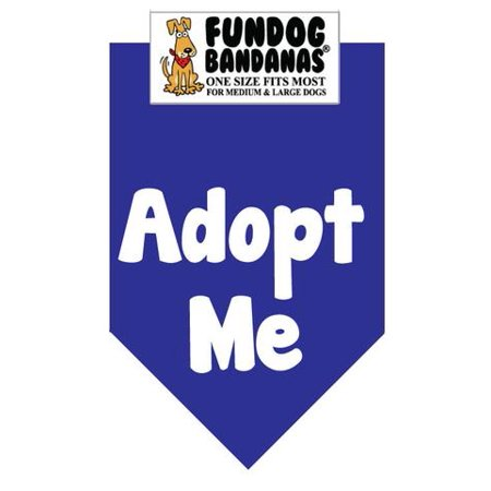 Fun Dog Bandana - ADOPT ME - One Size Fits Most for Med to Lg Dogs, royal blue pet - Halloween Scarf For Dogs