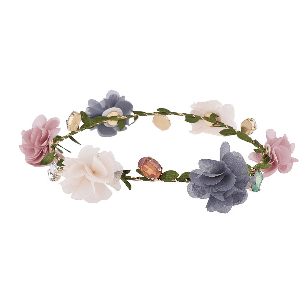 Lux Accessories Multicolor Chiffon Jewel Garland Coachella Festival Flower Crown