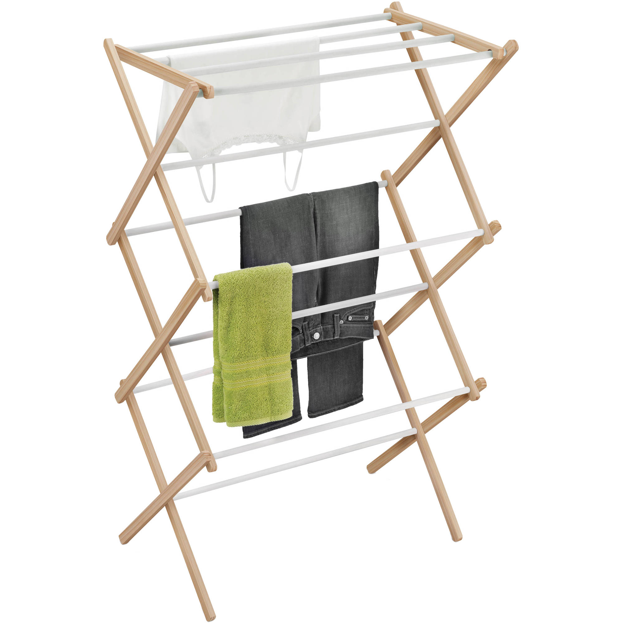 Honey Can Do Folding Wood Accordion Drying Rack White Natural