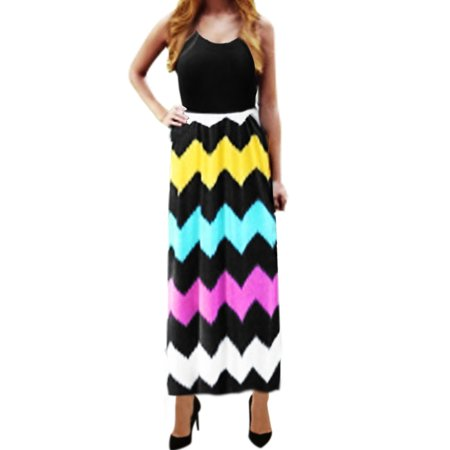 Ladies Apparel - Women Sleeveless Empire Waist Chevron Maxi Dress Black M