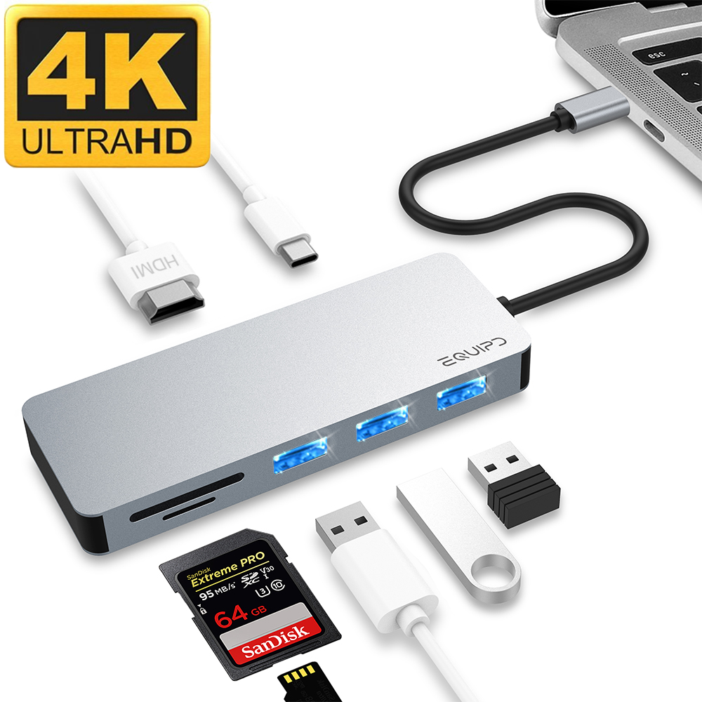 """USB C Hub, EQUIPD 7 IN 1 Aluminum Type C Adapter with USB C Charging Port, 4K HDMI Output, 1 USB 3.0/2 USB 2.0 Ports, SD/microSD Card Reader for MacBook Pro 13"""" 15"""" 2015/2016/2017 and More - Grey"""