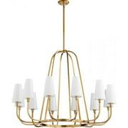 Quorum Highline 12 Light Chandelier in Aged Brass