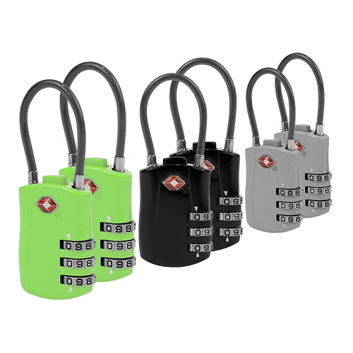 Set of 6 TSA Cable Lock(2 Neon Green Plus 2 Black Plus 2 Silver) TSA Cable Lock