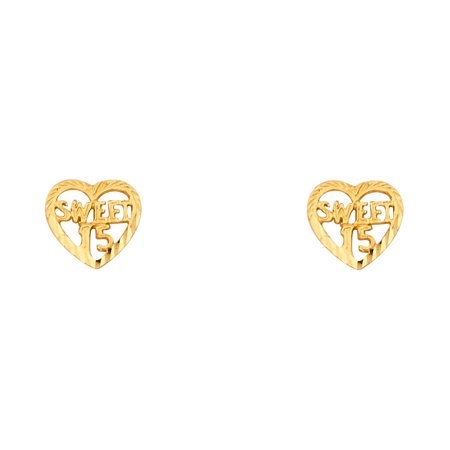 Sweet 15 Heart Stud Earrings 14k Yellow Gold Quinceanera Post Studs Diamond Cut Design 8 x 8 mm