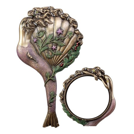 Ebros Beautiful Lady Aurora Sleeping Mermaid Hand Mirror Figurine Art Nouveau Faux Bronze Vanity Accessory Art Nouveau Bronze Door