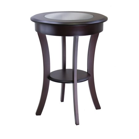Glass Tops Wood Furniture - Winsome Wood Cassie Round Accent Table with Glass Top, Cappuccino
