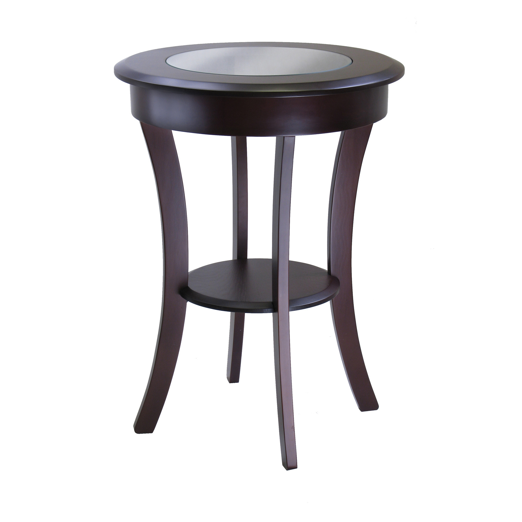 Winsome Wood Cassie Round Accent Table With Glass Top, Cappuccino