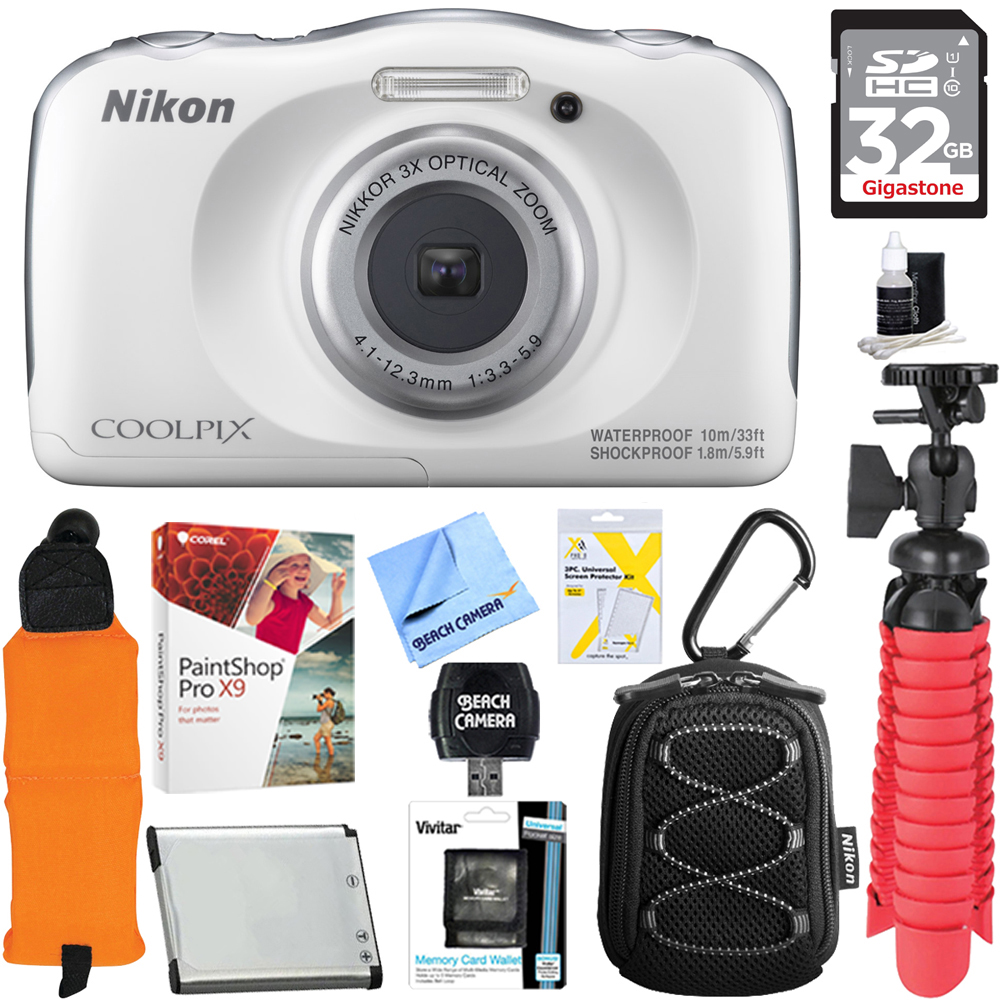 Nikon COOLPIX W100 13.2MP 1080P Digital Camera White (26515) + 32GB Class 10 UHS-1 SDHC Memory Card + Accessory Bundle