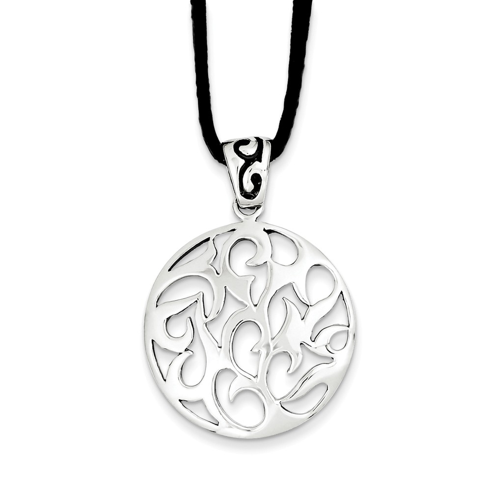 Sterling Silver Swirl Pendant w/ 16in Suede Cord Necklace