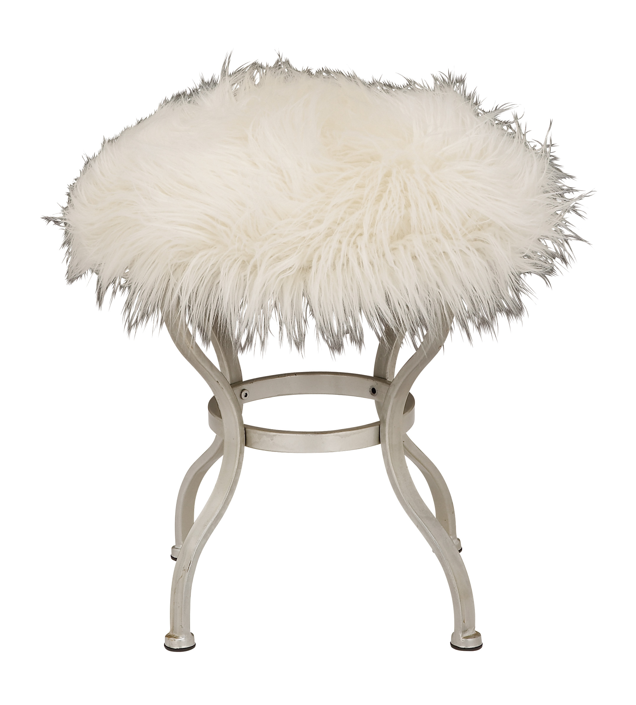 Decmode 21 X 20 Inch Contemporary Round White Fur Stool
