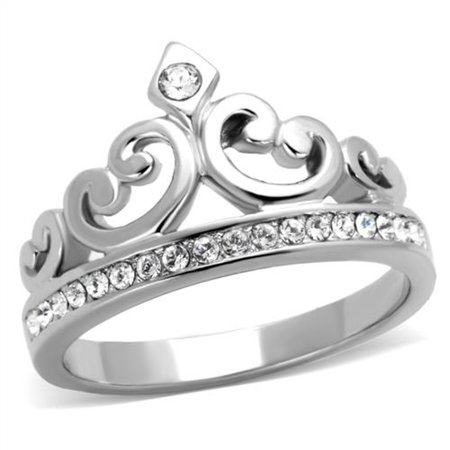 Crystal Silver Rings - PRINCESS ROYALTY CRYSTAL CROWN SILVER STAINLESS STEEL FASHION RING Women's Size 10