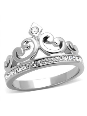 PRINCESS ROYALTY CRYSTAL CROWN SILVER STAINLESS STEEL FASHION RING Women's Size 10