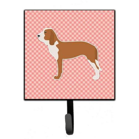 Spanish Hound Checkerboard Pink Leash or Key Holder