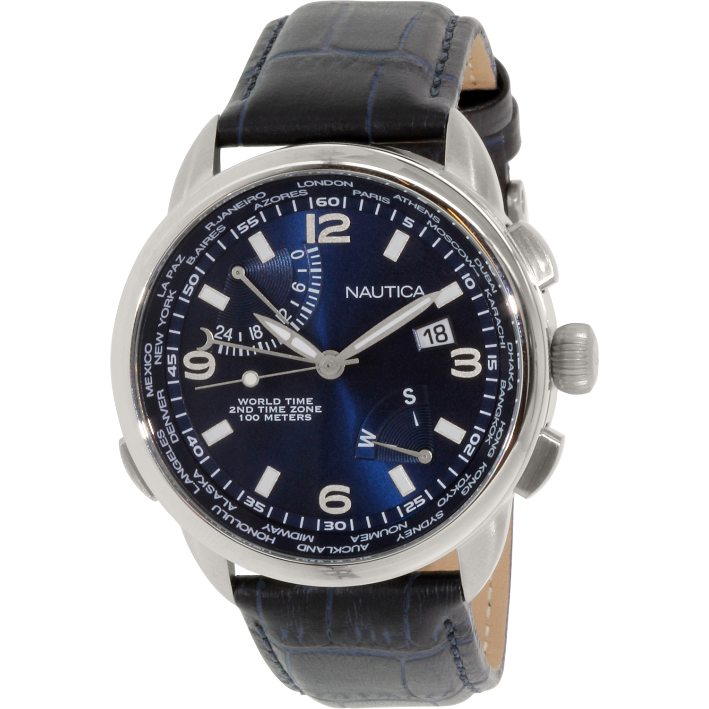 Nautica Men's NAD19507G Black Leather Analog Quartz Watch by Nautica