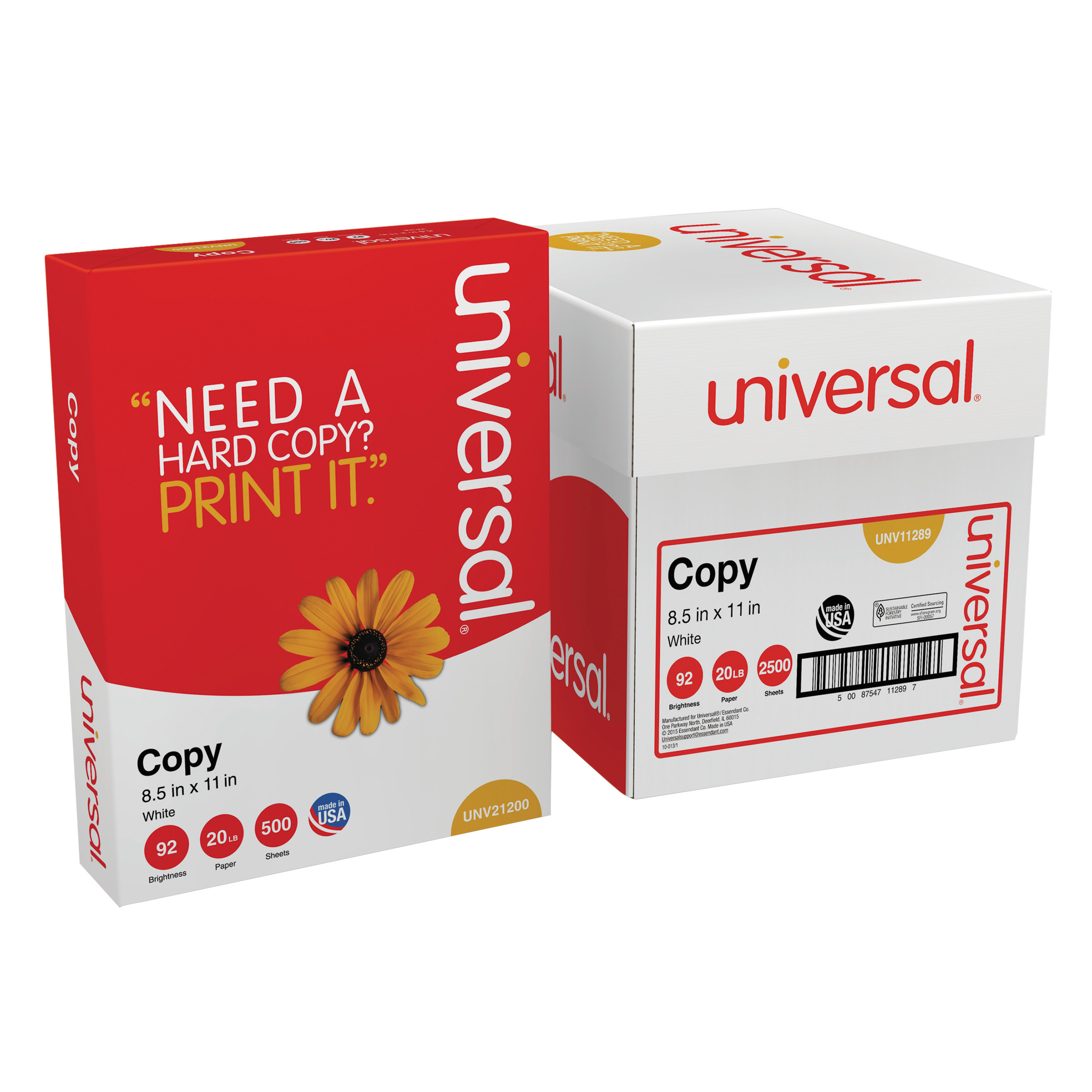 "Universal Copy Paper Convenience Carton, 92 Brightness, 20lb, 8-1/2"" x 11"", White, 2500-Countn"