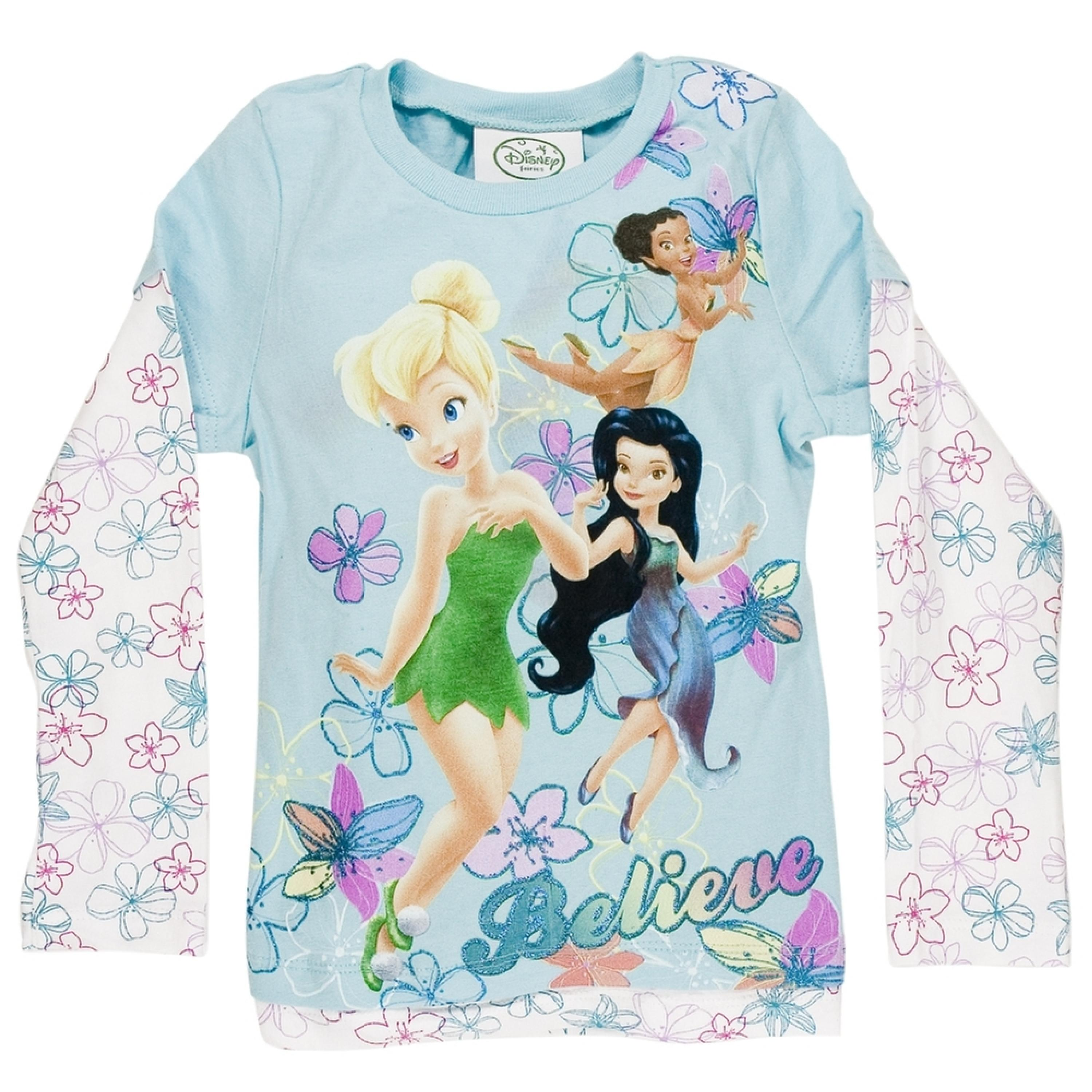 Disney Fairies - Flying Fairies Girls Juvy 2Fer Long Sleeve T-Shirt