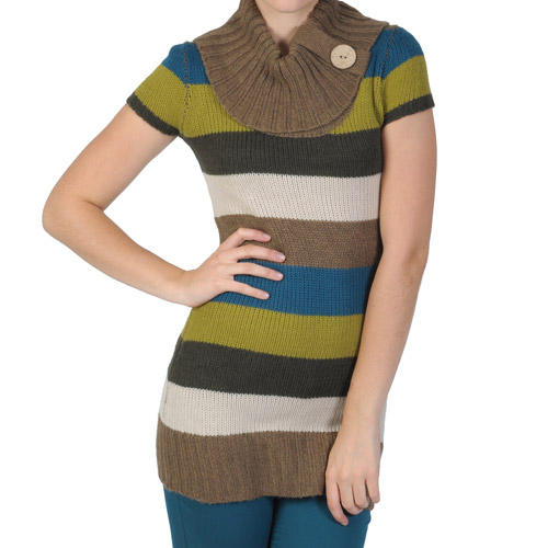 Brinley Co Juniors' Striped Cowl Neck Short-sleeve Tunic