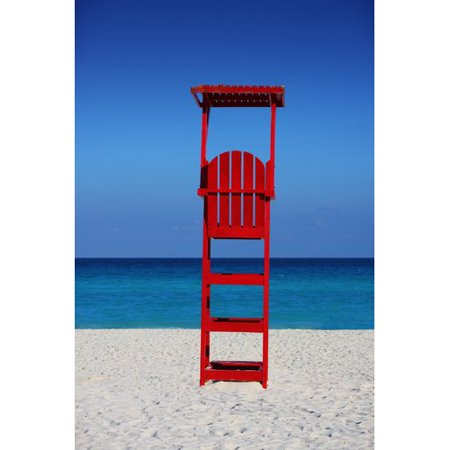 Buy Art For Less Caribbean Beach Lifeguard Stand by Jobe Waters Photographic Print on Wrapped Canvas