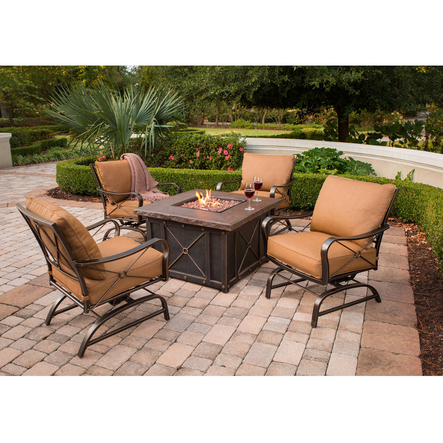 Hanover Outdoor Summer Nights Aluminum 5-Piece Lounge Set with DuraStone Firepit Table,... by Hanover Outdoor
