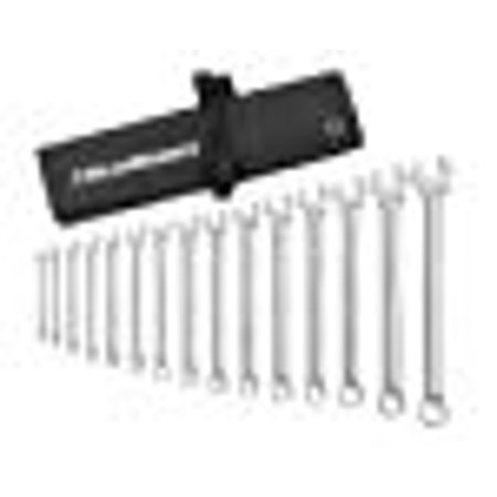 15 Pc. 12 Point Long Pattern Combination SAE Wrench Set with Tool Roll