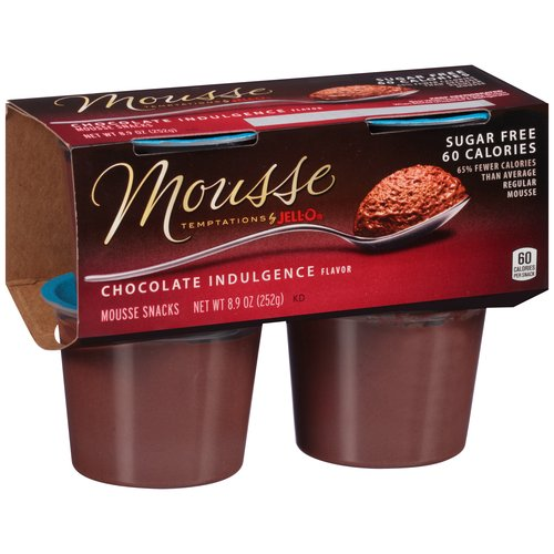 Mousse Temptations by JELL-O Chocolate Indulgence Flavor Mousse Snacks, 4 count, 8.9 oz