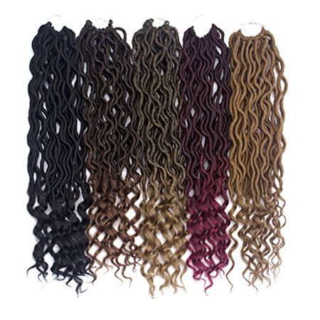 6 Packs/lot Goddess Faux Locs Crochet Hair Braiding Prelooped Faux Locs Twist Crochet Hair Braids with Curly Ends 24 roots/pack Ombre Blonde Dreadlocks Synthetic Hair Extensions (1b/27) - image 3 of 4