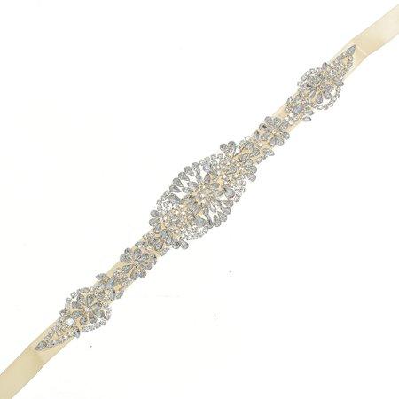 Luxury Rhinestone Crystal Wedding Dress Beaded Bridal Sash Belt Band Bride Gown Waistband 24'' Length - image 2 of 7