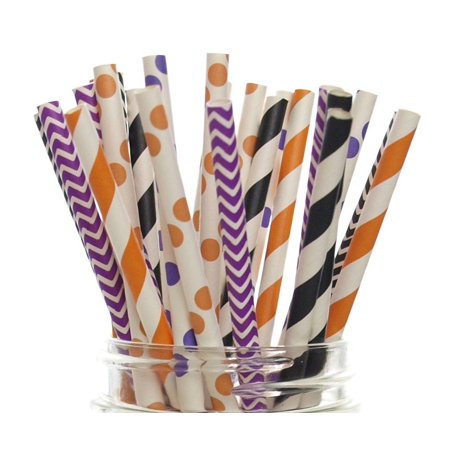 Halloween Straws (25 Pack) - Orange, Black & Purple Chevron, Stripe, Polka Dot October Trick or Treat Party Paper Straws