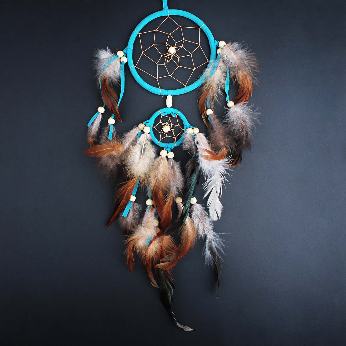 DreamDream Dream Catcher Handmade Decoration for Wall Car Home Decor with Feather Beads, Indian Style, Hanging Ornament,11cm/4.33inch Diameter,45cm/17.72inch Long  - Blue