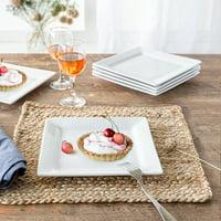 Better Homes & Gardens Square Salad Plates, White, Set of 6