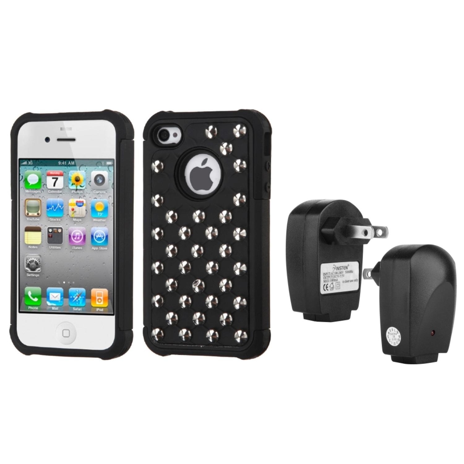 Insten Black/Black Silver Studs Case For iPhone 4/4S USB Travel Charger