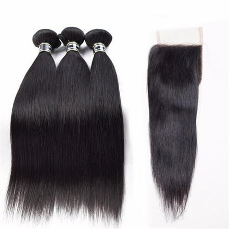 Beroyal Straight Hair 3 Bundles with Closure Free Part Brazilian Virgin Human Hair, 16