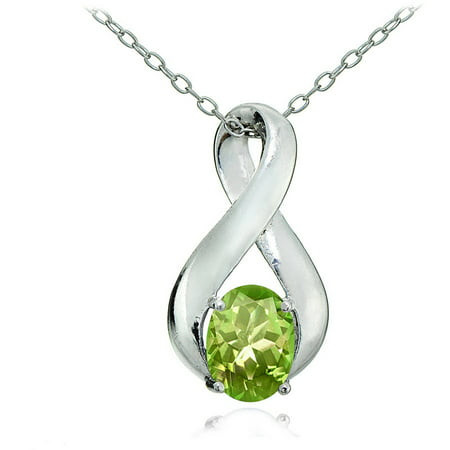 Peridot Sterling Silver Polished Infinity Necklace