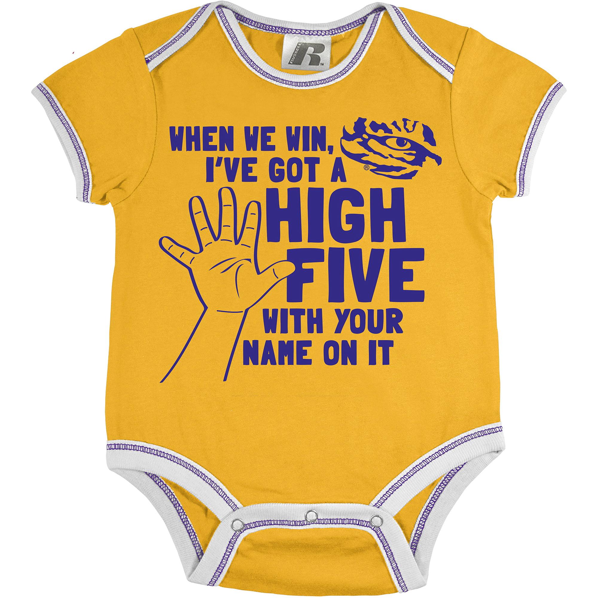 Russell NCAA LSU Tigers, Baby 3 Piece Short Sleeve Bodysuit Set