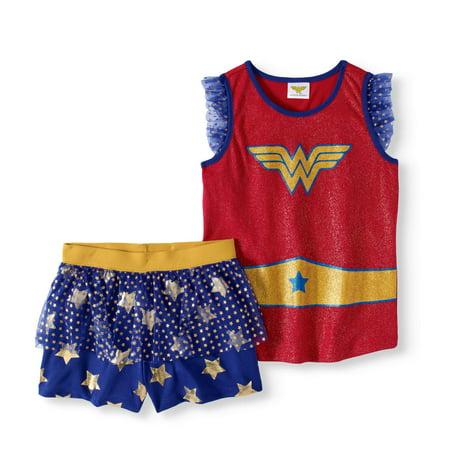 Wonder Woman Ruffle Sleeve Princess Skirt Sleep Set Walmart Classy Wonder Woman Skirt Pattern