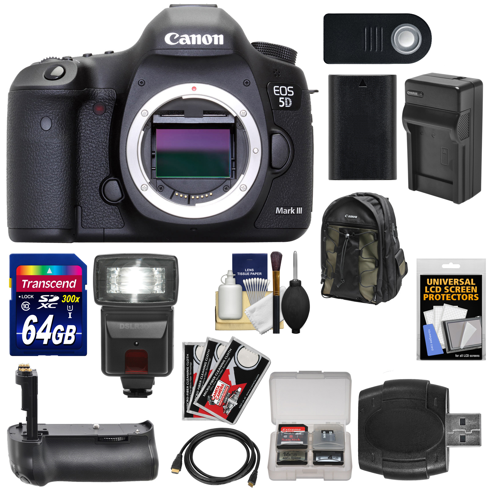 Canon EOS 5D Mark III Digital SLR Camera Body with 64GB Card + Flash + Grip + Battery & Charger + Backpack + Accessory... by Canon