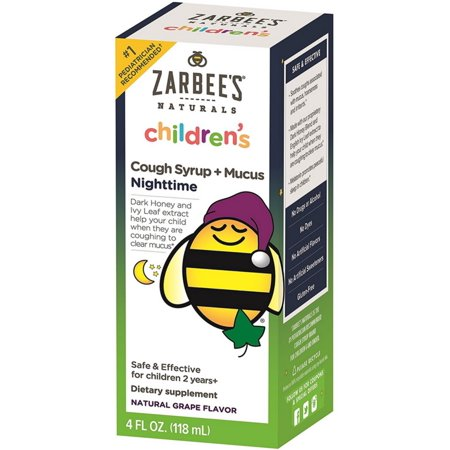 Childrens Cough - ZarBee's Childrens' Nightime Cough Syrup +  Mucus Reducer, Grape Flavor 4 oz (Pack of 2)