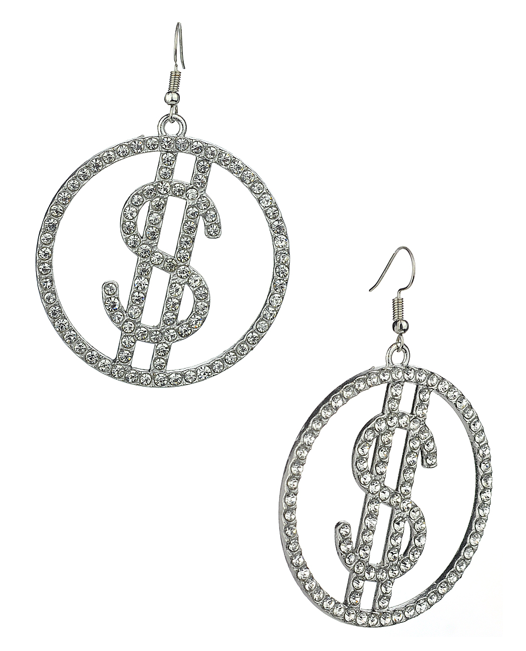 Women S Stone Stud Encircled Dollar Sign Money Symbol Dangle Pierced Earrings Clear Silver Tone