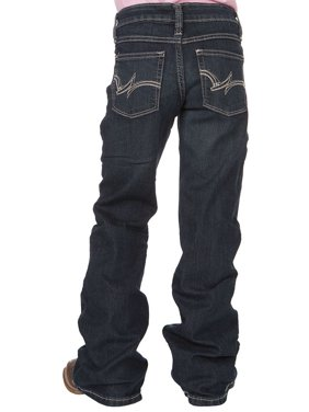 wrangler girls western boot cut jean, medium blue, 8 slim