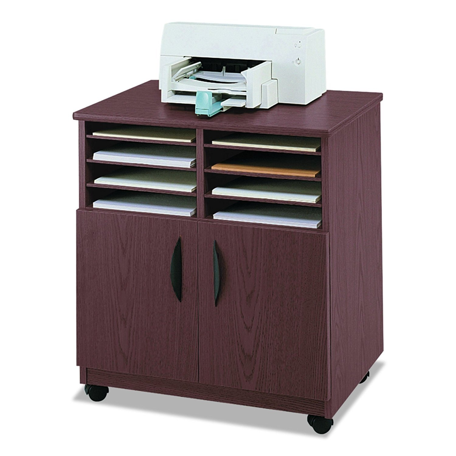 Safco Products 1851MH Mobile Machine Stand with Sorter, Mahogany