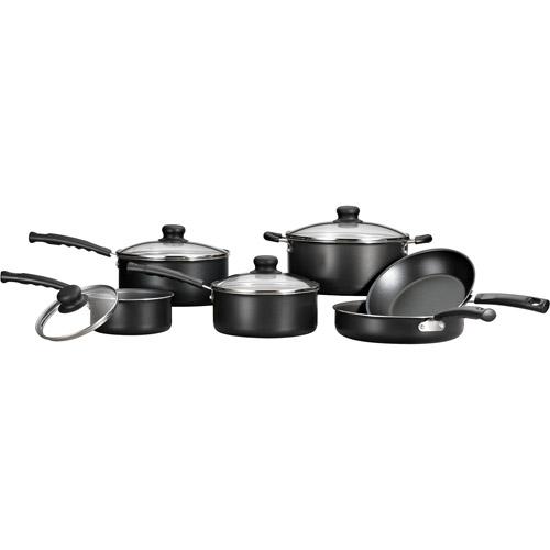 Mainstays 10-Piece Non-stick Cookware Set, Black